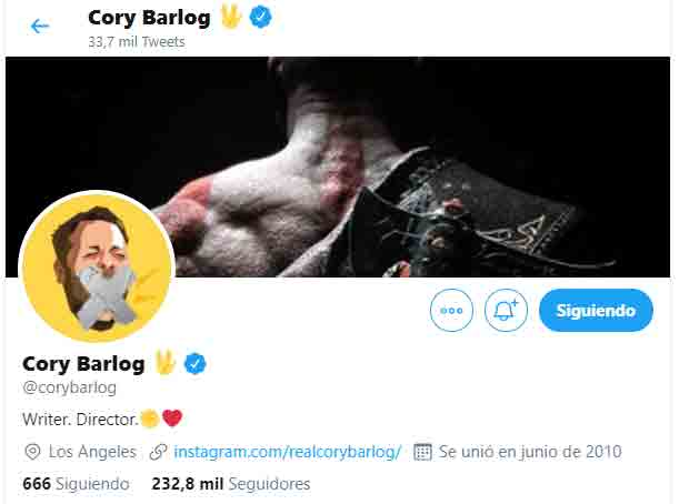 Portada twitter Cory Barlog God Of War