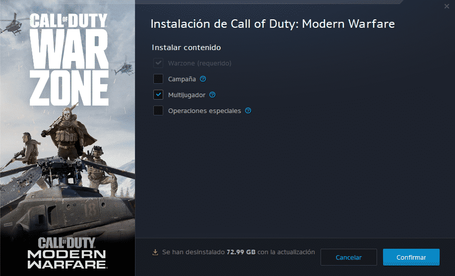 Call Of Duty Modern Warfare opciones de desinstalacion