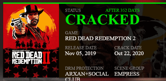 Red dead redemption 2 crackwatch