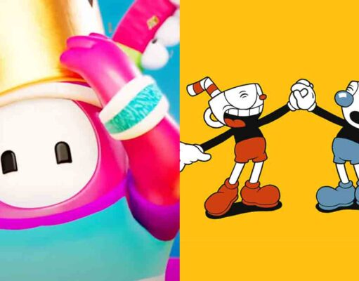 Fall Guys ultimate knockout colaboración cuphead skins mugman