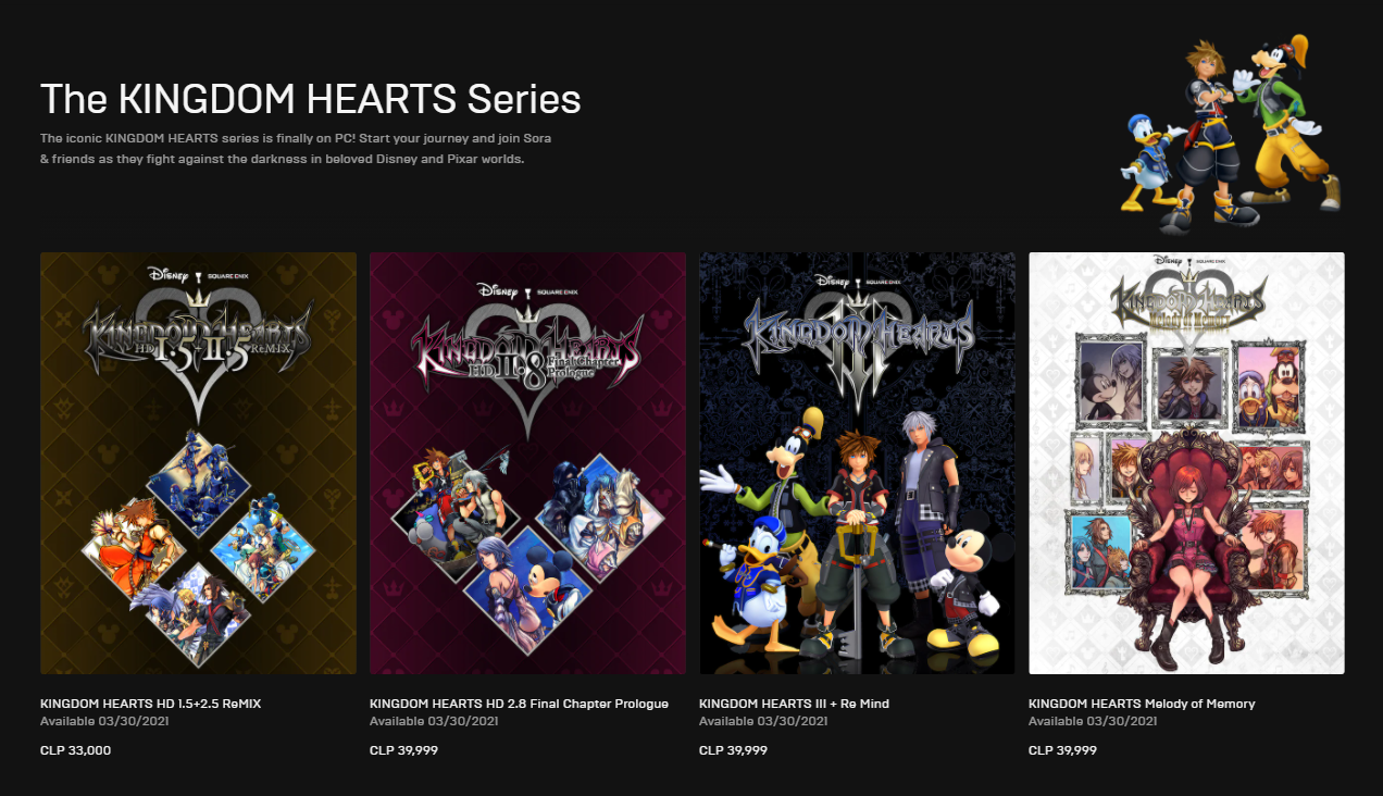 serie kingdom hearts epic games store
